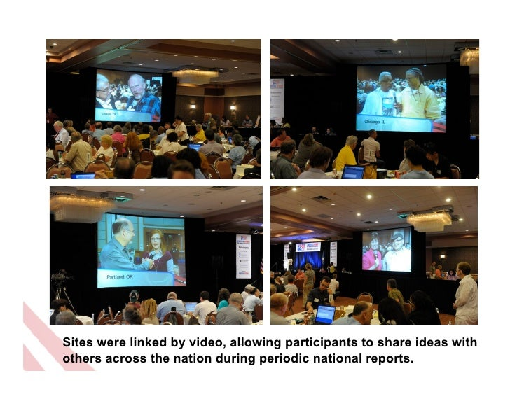 Sites were linked by video, allowing participants to share ideas withothers across the nation during periodic national rep...