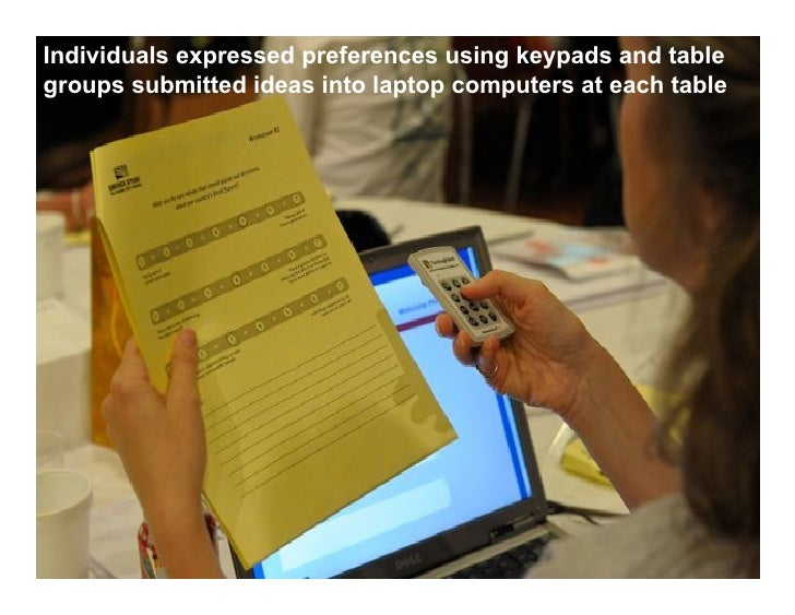 Individuals expressed preferences using keypads and tablegroups submitted ideas into laptop computers at each table