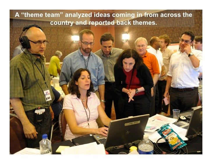 """A """"theme team"""" analyzed ideas coming in from across the           country and reported back themes."""