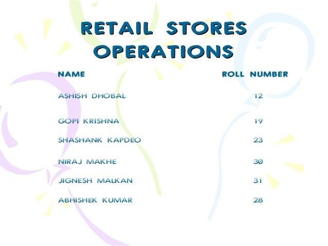 RETAIL STORES OPERATIONS NAME  ROLL NUMBER  ASHISH DHOBAL  12  GOPI KRISHNA  19  SHASHANK KAPDEO  23  NIRAJ MAKHE  30  JIG...