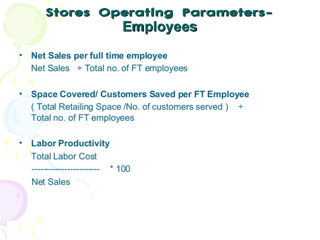 Stores Operating ParametersEmployees •  Net Sales per full time employee Net Sales ÷ Total no. of FT employees  •  Space C...