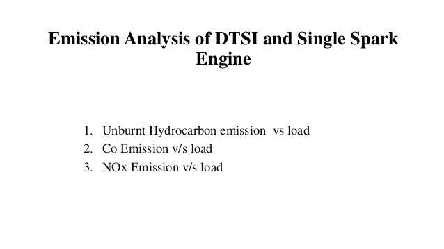 Emission Analysis of DTSI and Single Spark Engine 1. Unburnt Hydrocarbon emission vs load 2. Co Emission v/s load 3. NOx E...