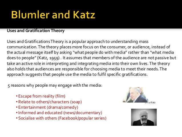 uses and gratifications theory specific media Start studying comm theory: uses and gratification theory theory that says that people are active in choosing and using particular media to satisfy specific.