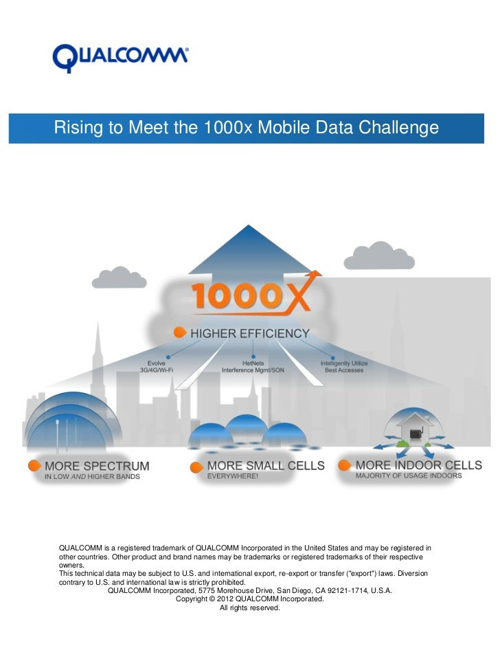 Rising to Meet the 1000x Mobile Data ChallengeQUALCOMM is a registered trademark of QUALCOMM Incorporated in the United St...