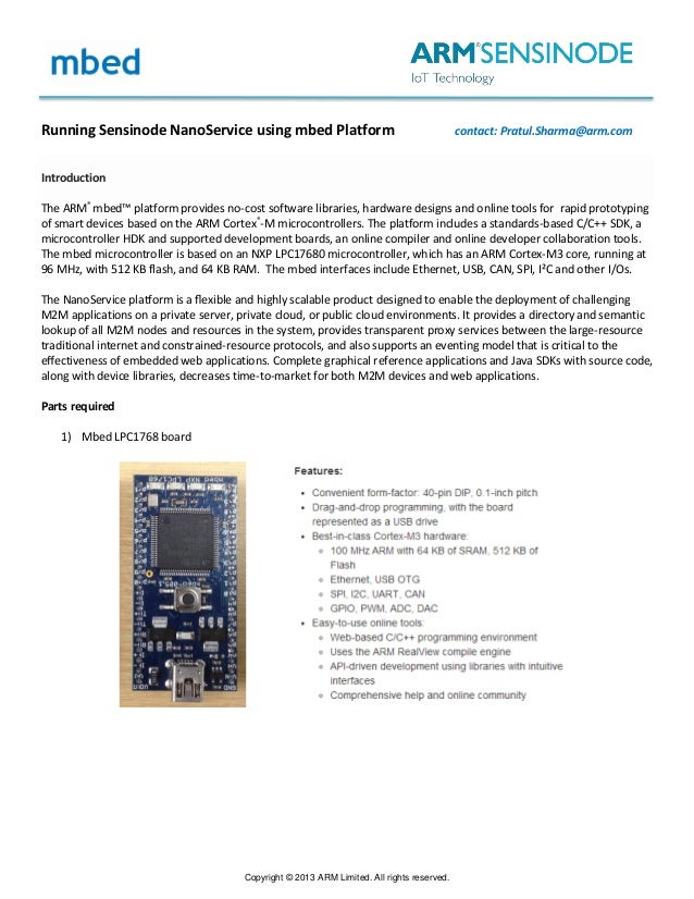Creating IoT application using ARM mbed and NanoService solution