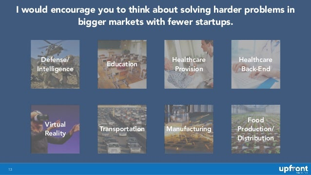 13 I would encourage you to think about solving harder problems in bigger markets with fewer startups. Defense/ Intelligen...