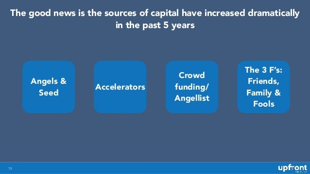 Angels & Seed Accelerators Crowd funding/ Angellist The 3 F's: Friends, Family & Fools 15 The good news is the sources of ...