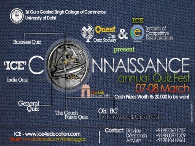 CONNAISSANCE 2013   Business Quiz      Finals