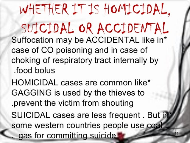 WHETHER IT IS HOMICIDAL,  SUICIDAL OR ACCIDENTAL  Suffocation may be ACCIDENTAL like in *  case of CO poisoning and in cas...