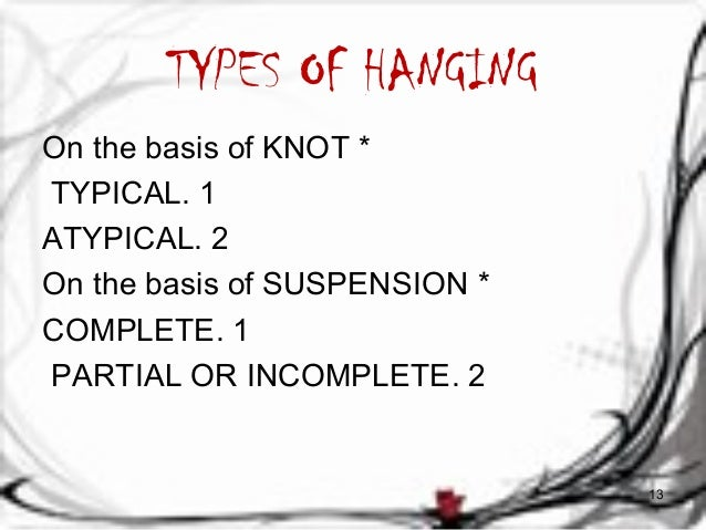 TYPES OF HANGING  On the basis of KNOT *  TYPICAL. 1  ATYPICAL. 2  On the basis of SUSPENSION *  COMPLETE. 1  PARTIAL OR I...