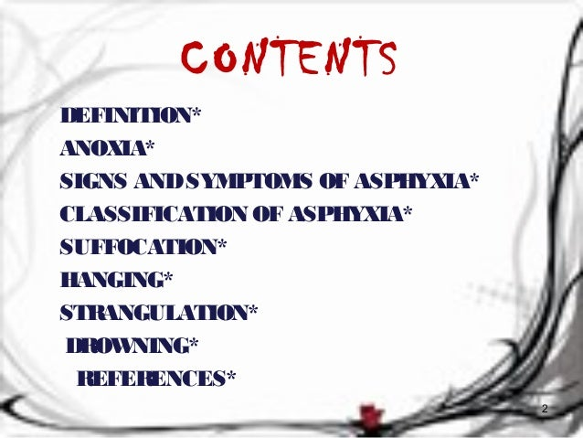 CONTENTS  DEFINITION*  ANOXIA*  SIGNS AND SYMPTOMS OF ASPHYXIA*  CLASSIFICATION OF ASPHYXIA*  SUFFOCATION*  HANGING*  STRA...