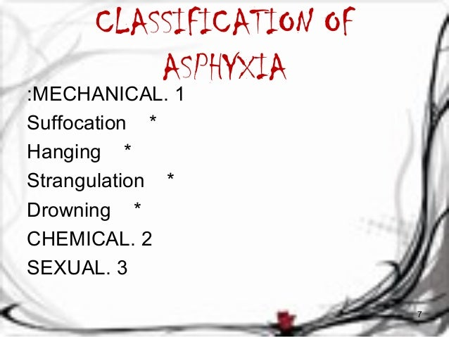 CLASSIFICATION OF  ASPHYXIA  :MECHANICAL. 1  Suffocation *  Hanging *  Strangulation *  Drowning *  CHEMICAL. 2  SEXUAL. 3...