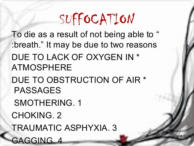 """SUFFOCATION  To die as a result of not being able to """"  :breath."""" It may be due to two reasons  DUE TO LACK OF OXYGEN IN *..."""