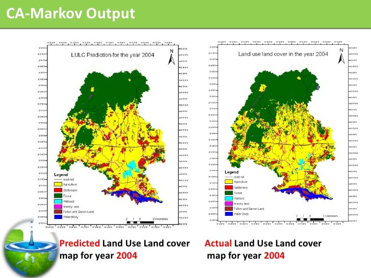 CA-Markov Output           Predicted Land Use Land cover   Actual Land Use Land cover       map for year 2004             ...