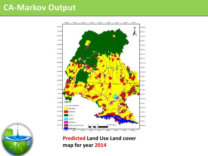 CA-Markov Output                  Predicted Land Use Land cover              map for year 2014