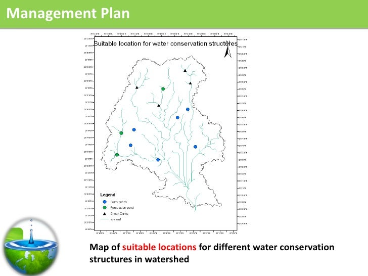 Management Plan               Map of suitable locations for different water conservation           structures in watershed