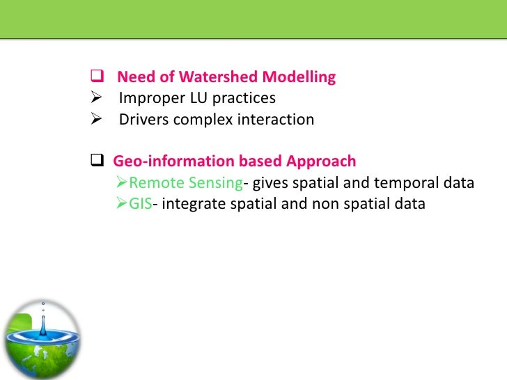  Need of Watershed Modelling  Improper LU practices  Drivers complex interaction   Geo-information based Approach   R...