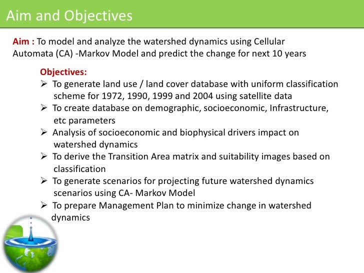 Aim and Objectives Aim : To model and analyze the watershed dynamics using Cellular Automata (CA) -Markov Model and predic...