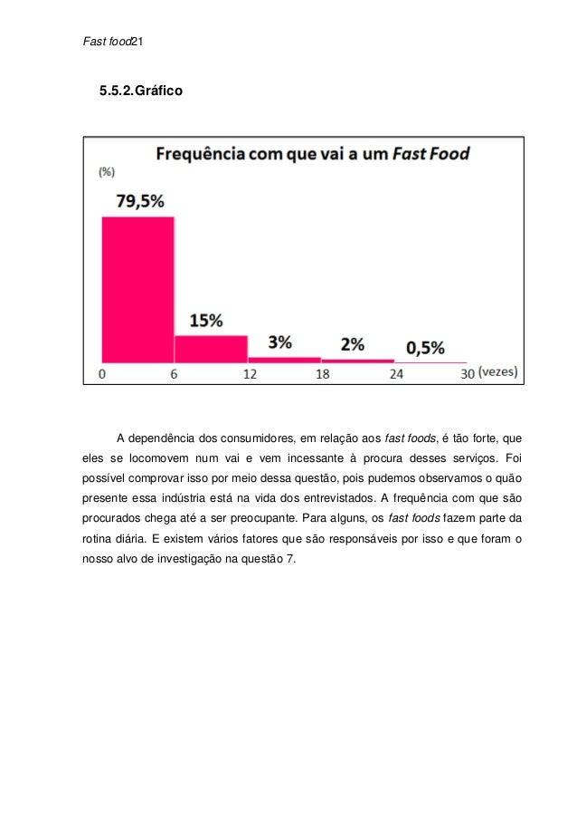 Fast food21   5.5.2. Gráfico      A dependência dos consumidores, em relação aos fast foods, é tão forte, queeles se locom...