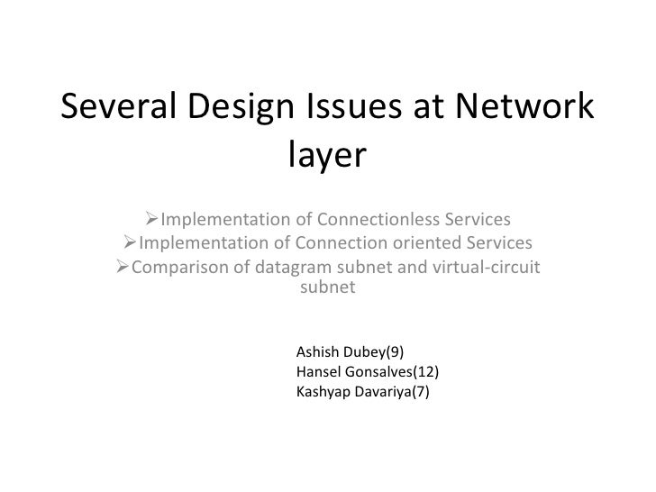 Several Design Issues at Network layer<br /><ul><li>Implementation of Connectionless Services