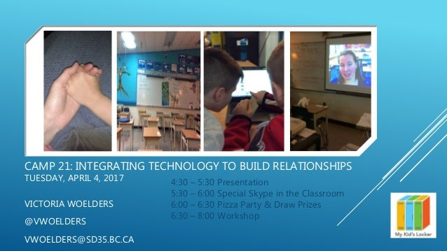 CAMP 21: INTEGRATING TECHNOLOGY TO BUILD RELATIONSHIPS TUESDAY, APRIL 4, 2017 VICTORIA WOELDERS @VWOELDERS VWOELDERS@SD35....