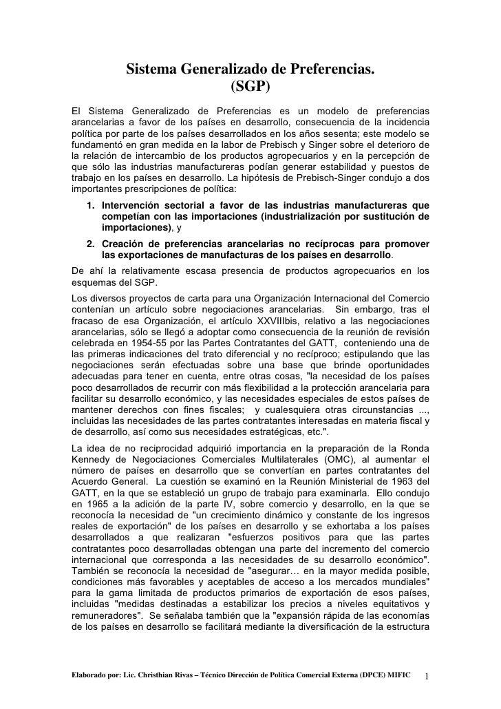 Sistema Generalizado de Preferencias.                                (SGP) El Sistema Generalizado de Preferencias es un m...