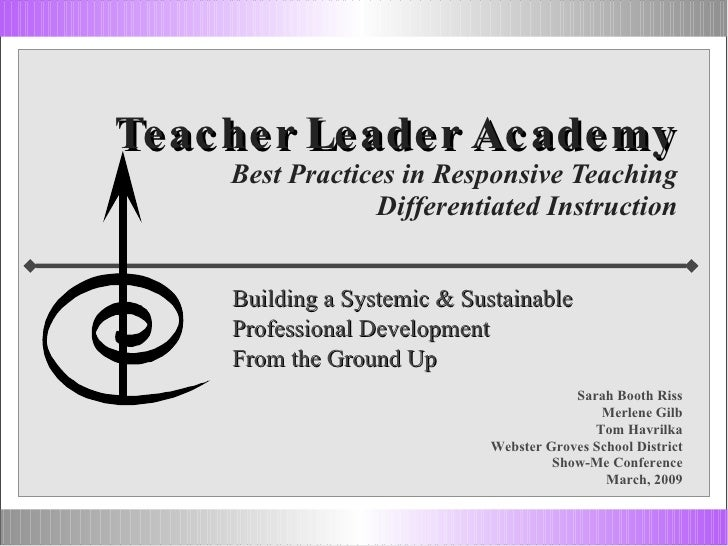 Teacher Leader Academy Best Practices in Responsive Teaching Differentiated Instruction Building a Systemic & Sustainable ...