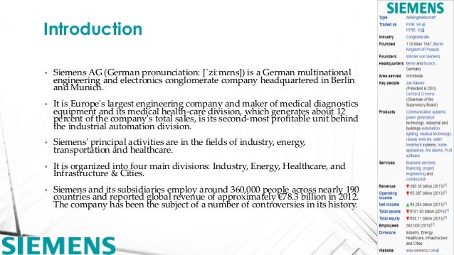 Global Brand - Company Analysis - Siemens