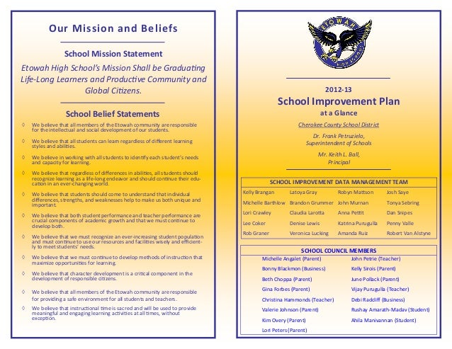 Our Mission and Beliefs                  School Mission StatementEtowah High School's Mission Shall be GraduatingLife-Long...