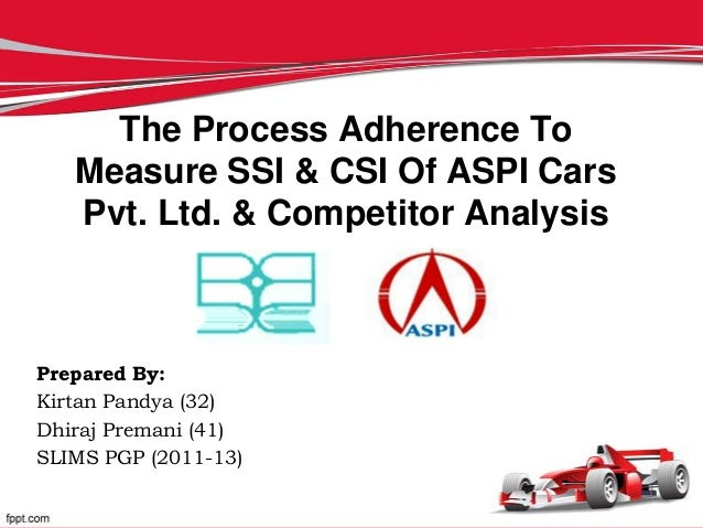 The Process Adherence To   Measure SSI & CSI Of ASPI Cars   Pvt. Ltd. & Competitor AnalysisPrepared By:Kirtan Pandya (32)D...