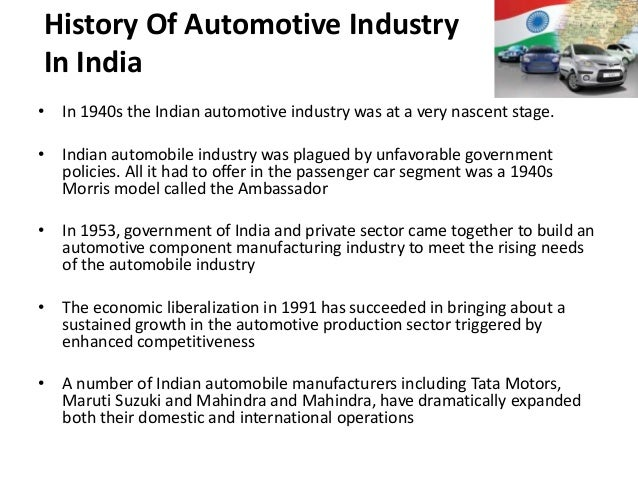 the history of the automobile industry marketing essay Industry revenue growth, estimated at 21% in 2013, thus bringing overall revenue to an estimated $23 trillion 3 overall, the large declines followed by recovery are expected to lend the industry average growth of 22% per year during the five years.