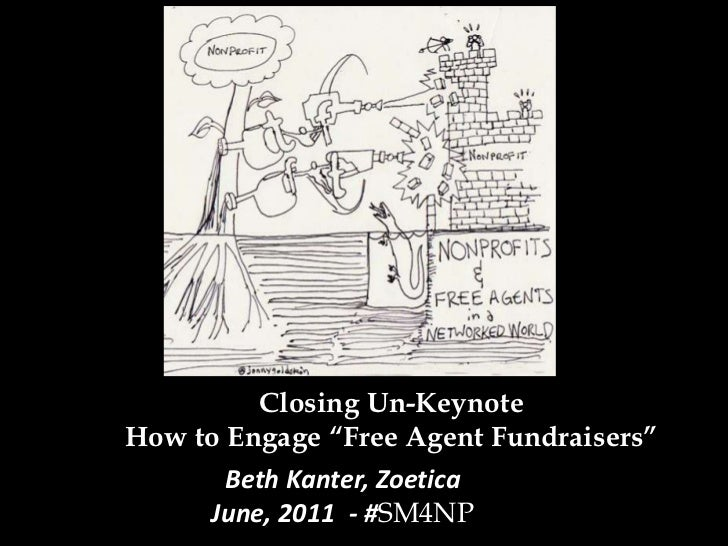 """Closing Un-KeynoteHow to Engage """"Free Agent Fundraisers""""<br />Beth Kanter, ZoeticaJune, 2011  - #SM4NP<br />"""