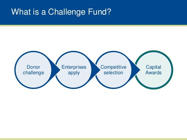 What is a Challenge Fund?   Donor      Enterprises   Competitive   Capital  challenge     apply        selection    Awards
