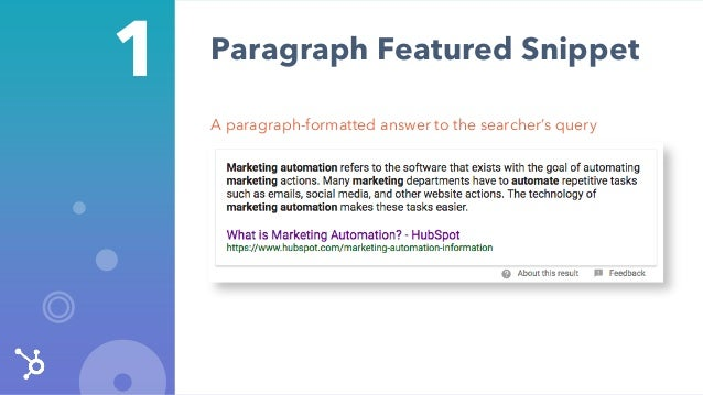 1 A paragraph-formatted answer to the searcher's query Paragraph Featured Snippet