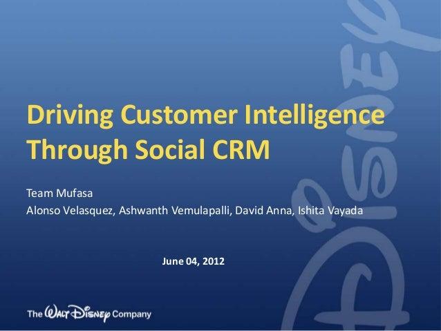 Driving Customer IntelligenceThrough Social CRMTeam MufasaAlonso Velasquez, Ashwanth Vemulapalli, David Anna, Ishita Vayad...