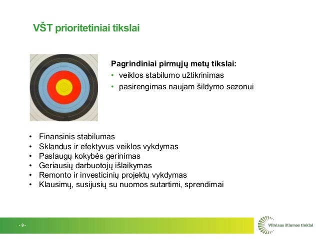 VŠT prioritetiniai tikslai Pagrindiniai pirmųjų metų tikslai: • veiklos stabilumo užtikrinimas • pasirengimas naujam šildy...