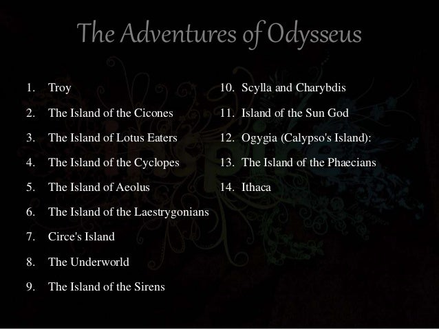 odysseus adventures in the odyssey Summary of the greeks who made it back to their homes odysseus was fated to wander the longest — a full ten years — and he knew it among the trojan.