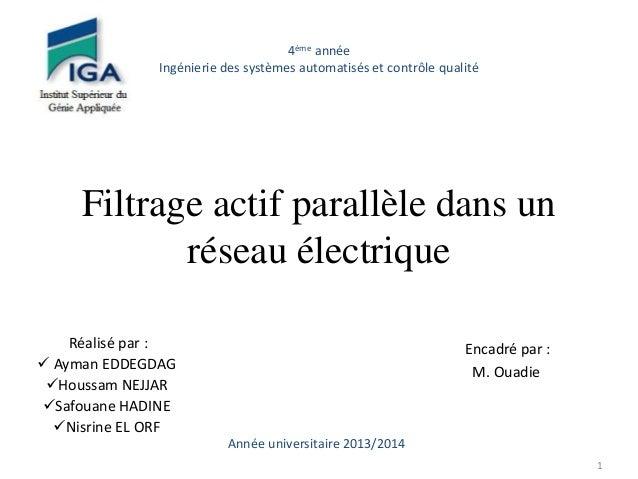 Filtrage actif parallèle dans un  réseau électrique  Réalisé par :   Ayman EDDEGDAG  Houssam NEJJAR  Safouane HADINE  ...