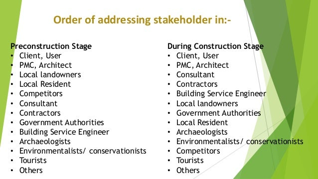 impact of stakeholder management on construction industry With the construction industry embracing stakeholder management sm, the ability to successfully manage stakeholders, meeting their needs and satisfaction is a critical success factor researchers have  have agreater impact on sustainable construction[12].