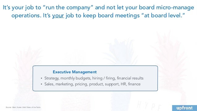 Executive Management • Strategy, monthly budgets, hiring / firing, financial results • Sales, marketing, pricing, product,...