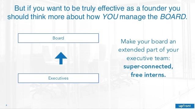4 But if you want to be truly effective as a founder you should think more about how YOU manage the BOARD. Board Executive...