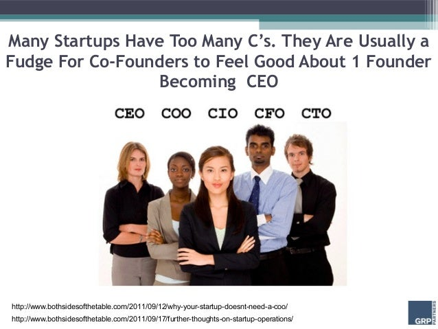 Many Startups Have Too Many C's. They Are Usually aFudge For Co-Founders to Feel Good About 1 Founder                  Bec...