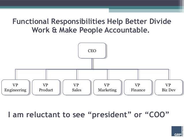 Functional Responsibilities Help Better Divide         Work & Make People Accountable.                                   C...