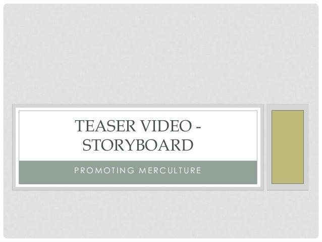 TEASER VIDEO - STORYBOARDPROMOTING MERCULTURE