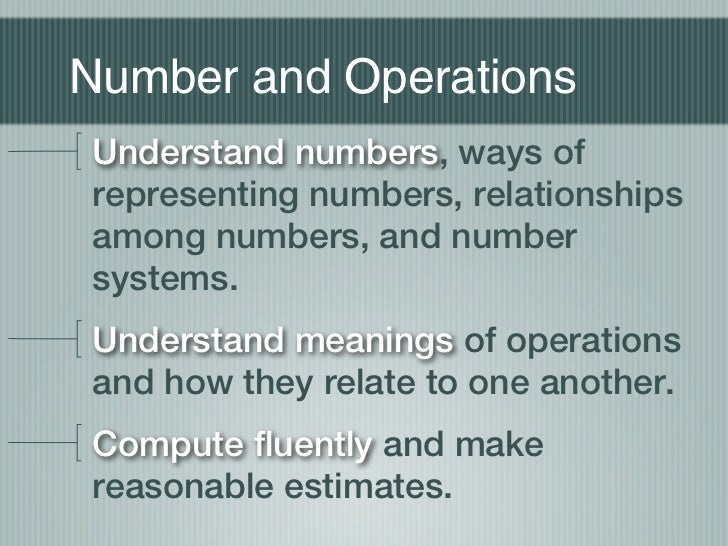 Number and OperationsUnderstand numbers, ways ofrepresenting numbers, relationshipsamong numbers, and numbersystems.Unders...