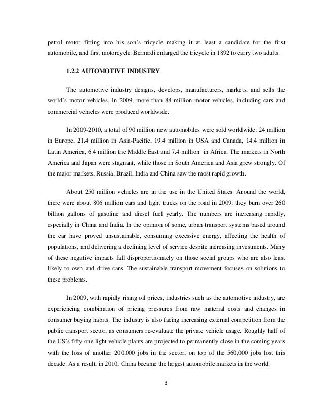 internship report on automobile industry About us the aviation industry corporation of china, ltd (avic) was founded on november 6th, 2008 through the restructuring and consolidation of the china aviation industry corporation ⅰ (avic ⅰ) and the china aviation industry corporation ⅱ (avic ⅱ.