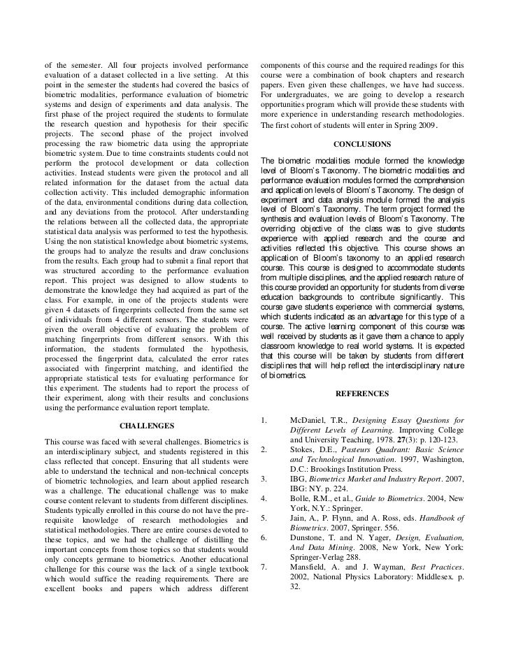 thesis statement on biometrics This thesis is focused on the quality assessment of biometric signals and its ap-   that a statement of a biometric sample's quality should be related to its.