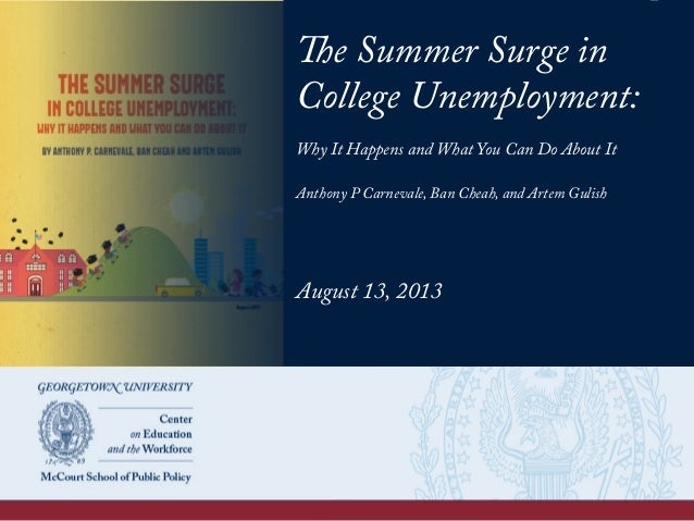 The Summer Surge in College Unemployment: Why It Happens and What You Can Do About It Anthony P Carnevale, Ban Cheah, and ...