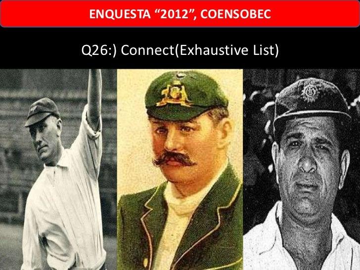 """ENQUESTA """"2012"""", COENSOBECQ26:) Connect(Exhaustive List)"""