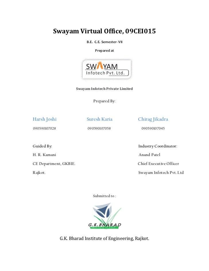 Swayam Virtual Office, 09CEI015                             B.E. C.E. Semester- VII                                  Prepa...